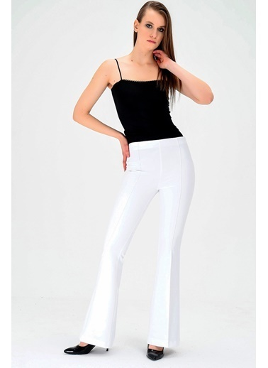Jument Dream Yüksek Bel Önü Arka Dikişli İspanyol Pantolon Beyaz